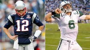 Tom Brady (left) Mark Sanchez (right)