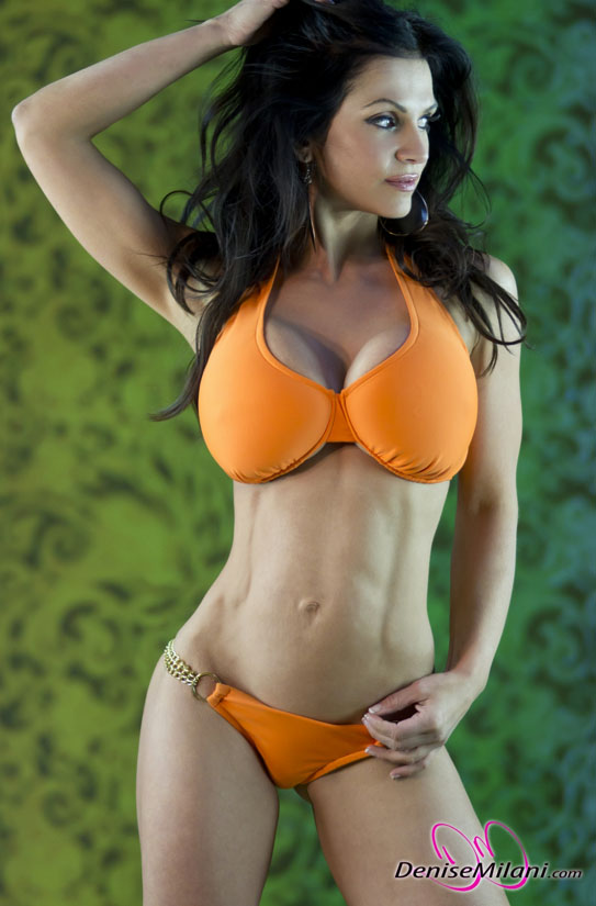 Denise Milani Orange Bikini Photo Shoot. You're Welcome (Gallery)