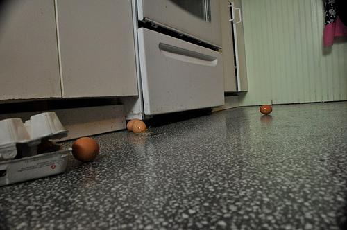 eggs on floor