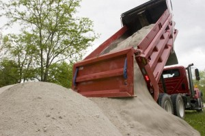 Trucks filled with sand